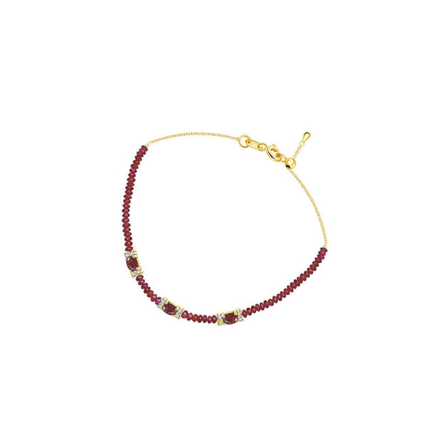 18k Gold Triple Ruby Diamond Bracelet with Beaded Ruby - Genevieve Collection