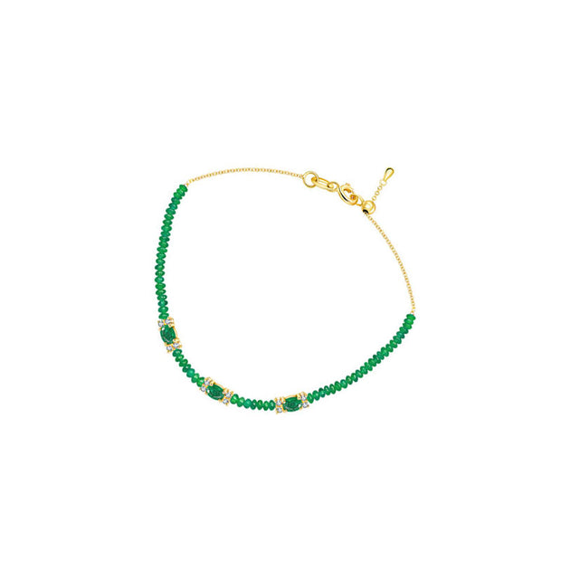 18k Gold Triple Emerald Diamond Bracelet with Beaded Emerald