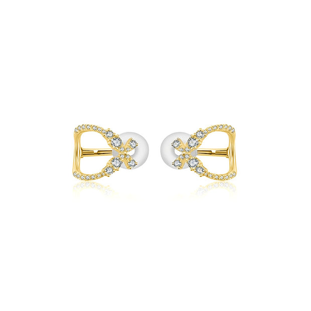 18k Gold Diamond Ear Cuff with Butterfly Pattern - Genevieve Collection