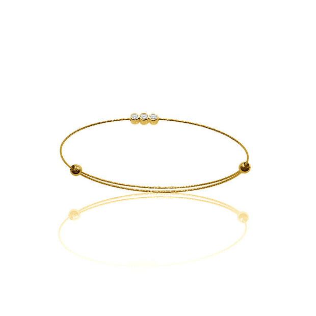 18k Gold Triple Diamond Bangle with Titanium - Genevieve Collection