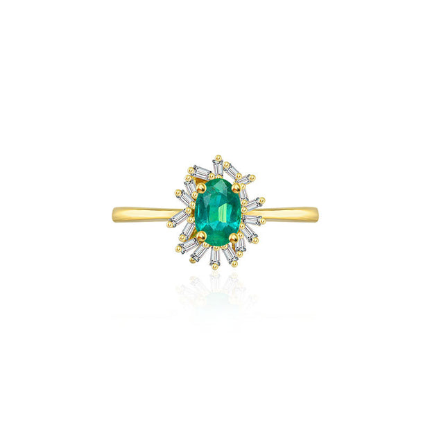 18k Gold Emerald Ring Surrounded by Irregular Shape Diamond - Genevieve Collection