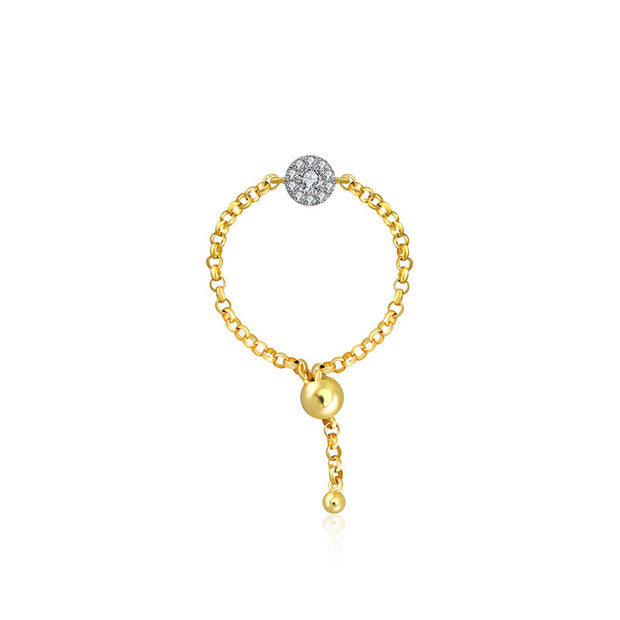 18k Gold Round Shape Diamond Adjustable Chain Ring - Genevieve Collection