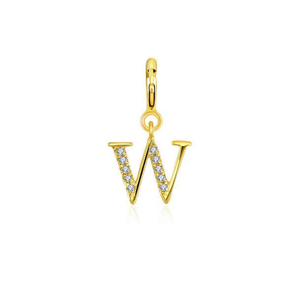"18k Gold Letter ""W"" Diamond Charms - Genevieve Collection"