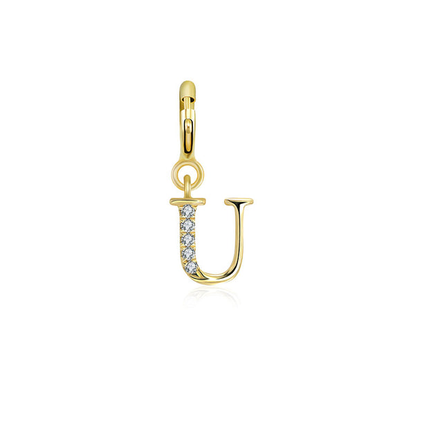 "18k Gold Letter ""U"" Diamond Charms - Genevieve Collection"