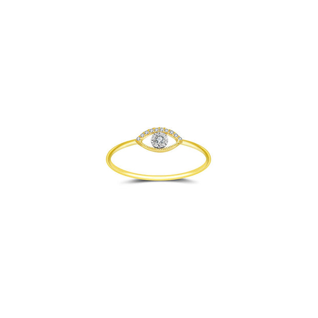 18k Gold Eye Shape Diamond Ring - Genevieve Collection