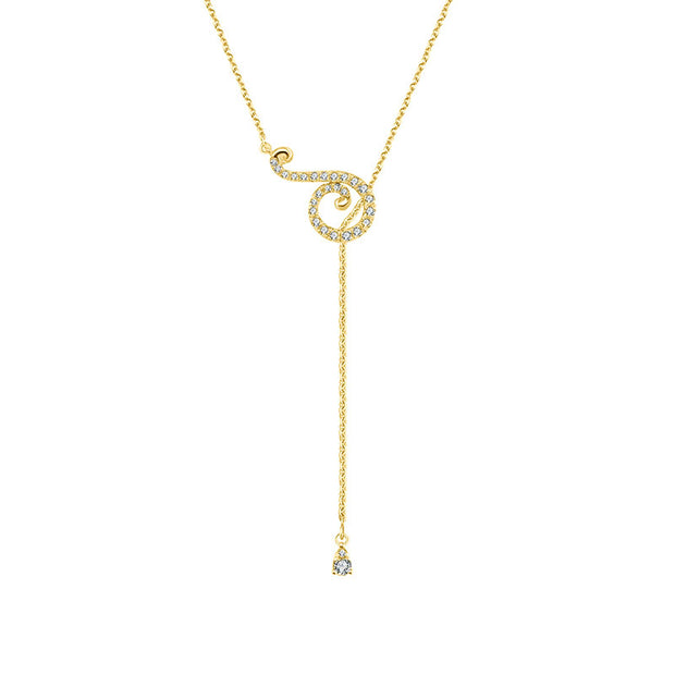 18k Gold Curve Shape Adjustable Diamond Necklace