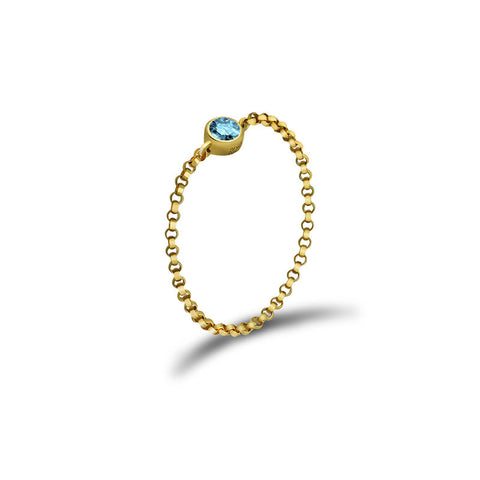 March Birth Stone Aquamarine Chain Ring
