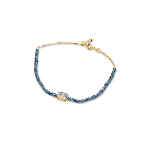 18k Gold Sapphire Beaded with Square Shape Diamond Bracelet - Genevieve Collection