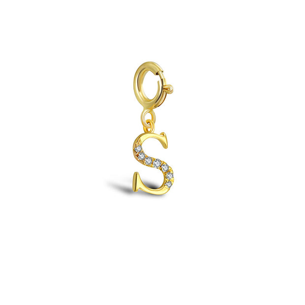 "18k Gold Letter ""S"" Diamond Charms - Genevieve Collection"