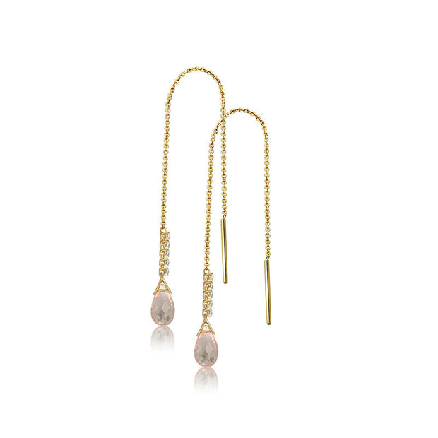 18k Gold Pink Quartz Chain Diamond Earring - Genevieve Collection