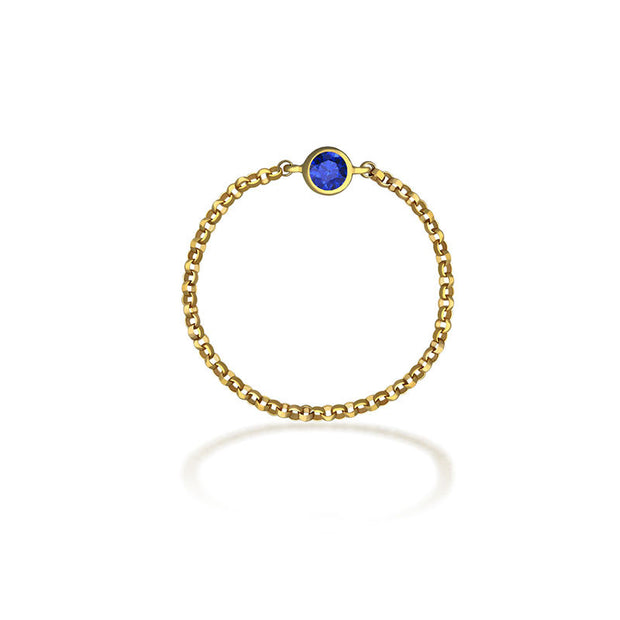 18k Gold September Birth Stone Sapphire Chain Ring - Genevieve Collection