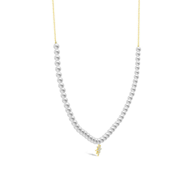 18k Gold Star Shape Diamond & Pearl Necklace - Genevieve Collection