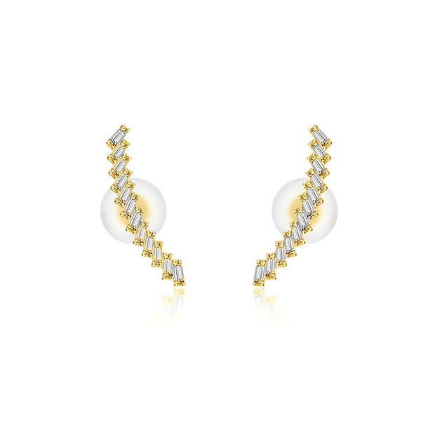 18k Gold Curve Line with Rectangle Diamond Earring - Genevieve Collection