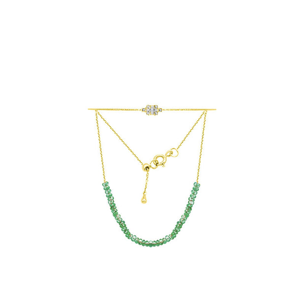18k Gold Emerald Beaded Bracelet with Diamond Bangle