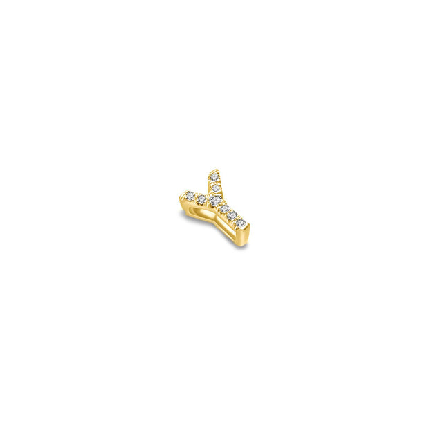 "18k Gold Initial Letter ""Y"" Diamond Pendant - Genevieve Collection"