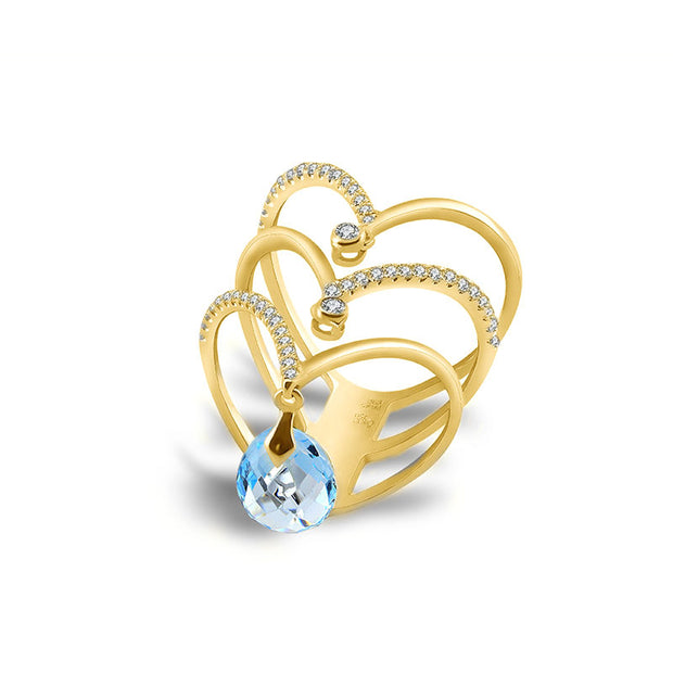 18k Gold Arrow Diamond Ring With Topaz - Genevieve Collection