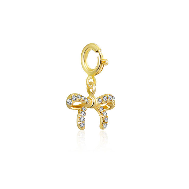 18k Gold Ribbon Bow Diamond Charms - Genevieve Collection