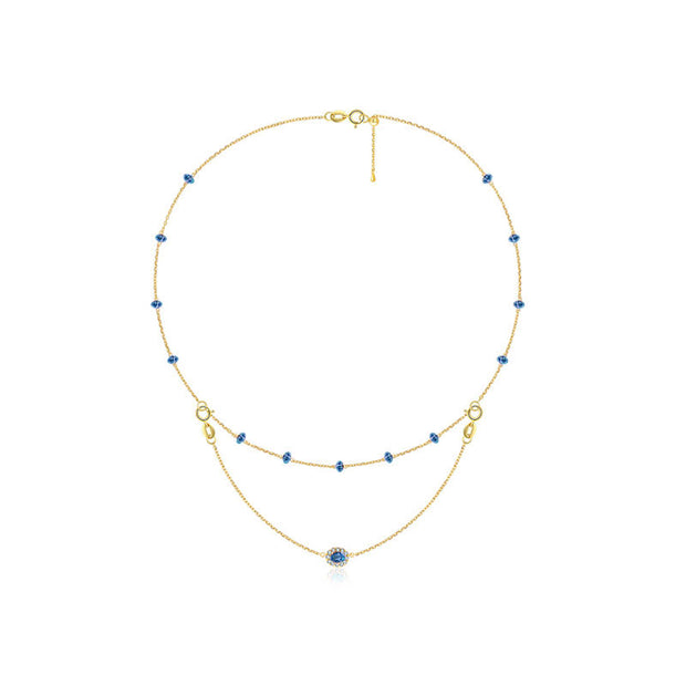 18k Gold 2 Ways By The Yard Sapphire Bead Necklace