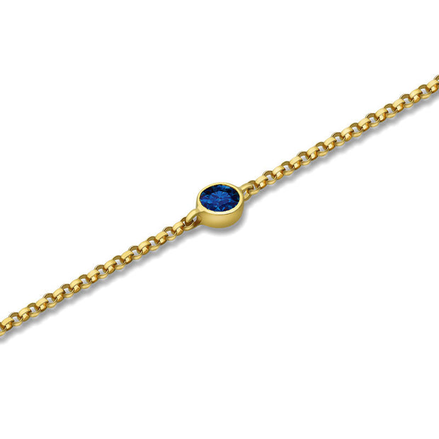 18k Gold September Birth Stone Sapphire Bracelet - Genevieve Collection