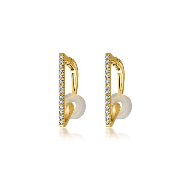 18k Gold Vertical Line Diamond Ear Cuff - Genevieve Collection