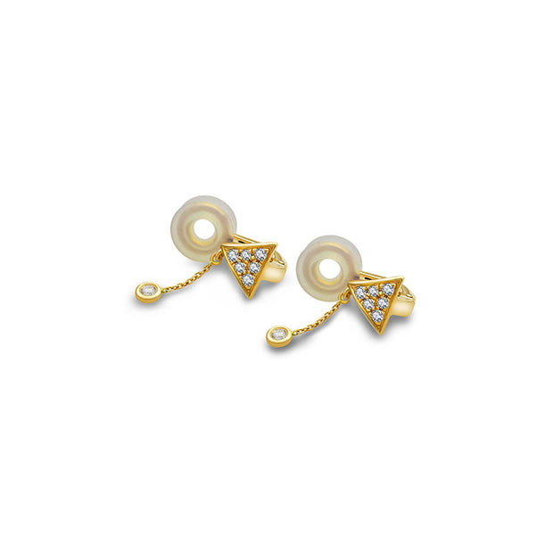 18k Gold Triangle Dangling Diamond Ear Cuff - Genevieve Collection