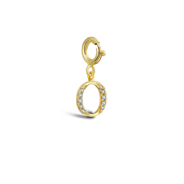 "18k Gold Letter ""O"" Diamond Charms - Genevieve Collection"
