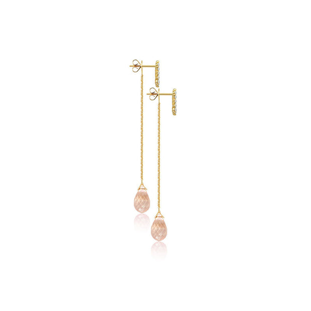 18k Gold Pink Quartz Chain Diamond Earring With Drop Shape - Genevieve Collection