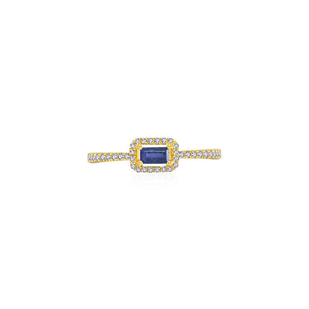 18k Gold Rectangle Shape Sapphire Ring Surrounded by Diamond - Genevieve Collection