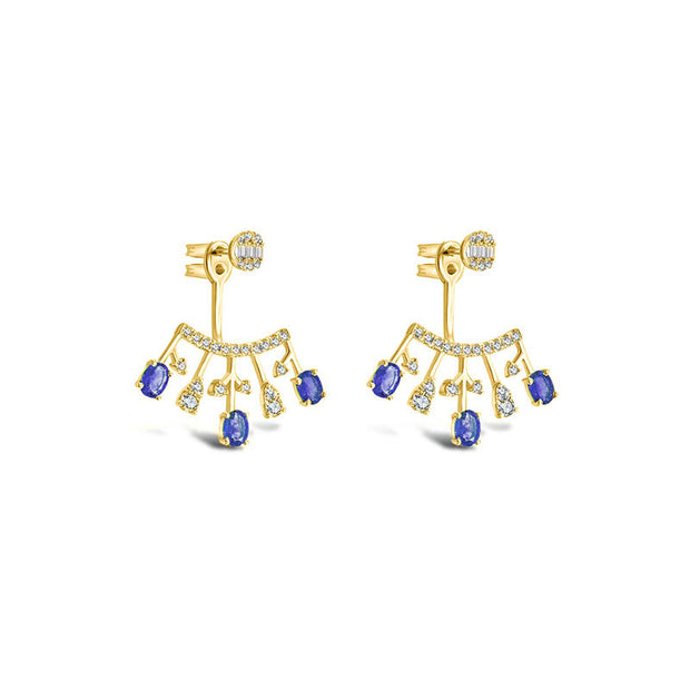 18k Gold Diamond Ear Jacket with Sapphire