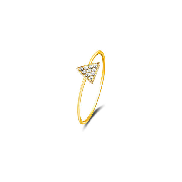 18k Gold Triangle Shape Pave Diamond Ring - Genevieve Collection