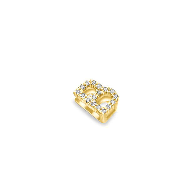 "18k Gold Initial Letter ""B"" Diamond Pendant - Genevieve Collection"
