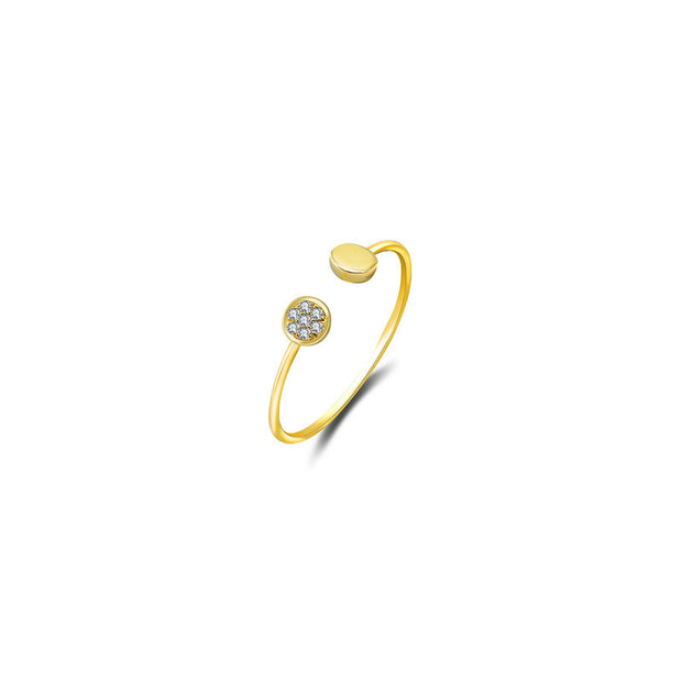 18k Gold Double Round Shape Diamond Ring - Genevieve Collection