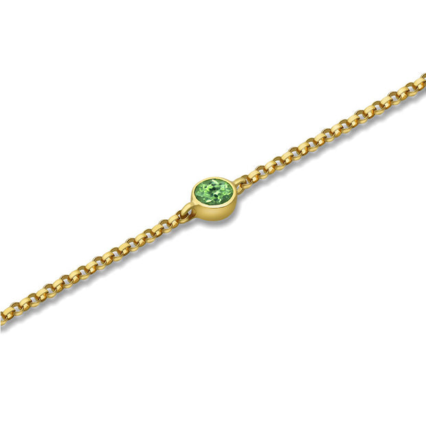 18k Gold August Birthstone Peridot Bracelet - Genevieve Collection