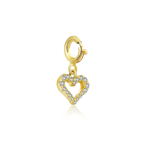 18k Gold Hollow Heart Shape Diamond Charms - Genevieve Collection