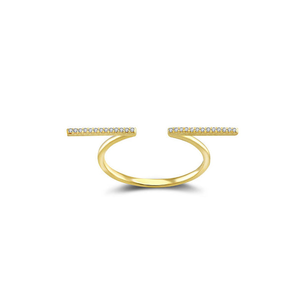 18k Gold Line Diamond Open Ring - Genevieve Collection