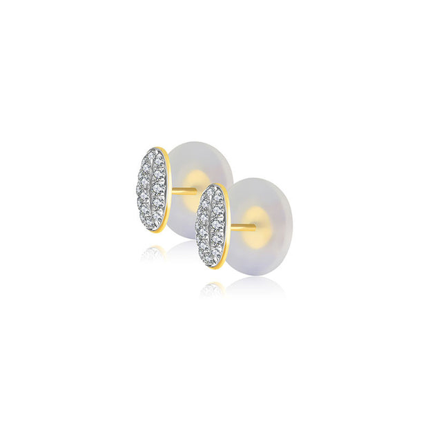 18k Gold Oval Shape Diamond Earring - Genevieve Collection
