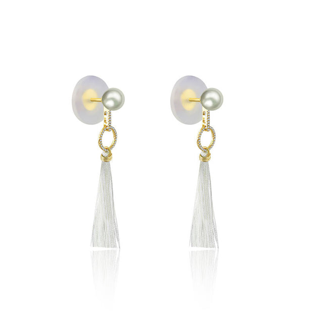 18k Gold Round Shape Tassel Diamond Earring With Pearl - Genevieve Collection
