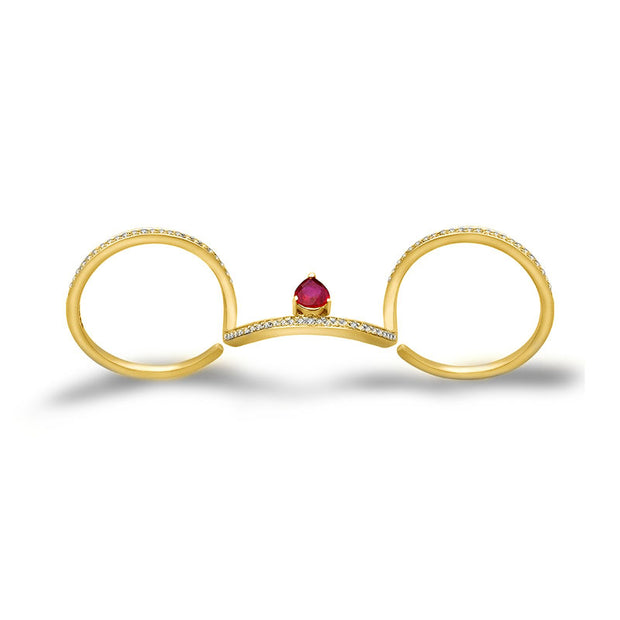 18k Gold Drop Ruby Triple Ring - Genevieve Collection