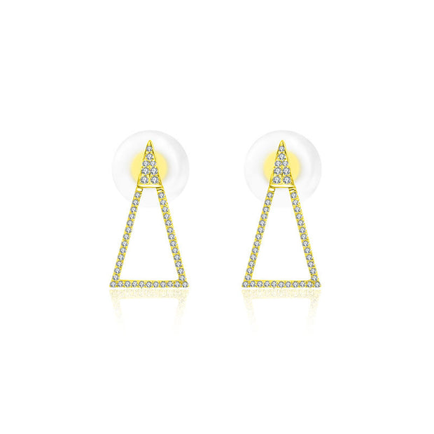 18k Gold Hollow Isosceles Triangle Diamond Earring - Genevieve Collection