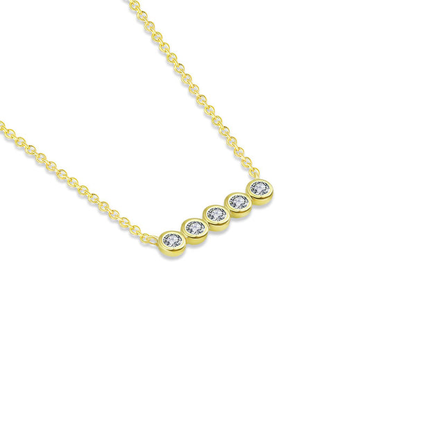 18k Gold Horizontal Dot Diamond Necklace - Genevieve Collection