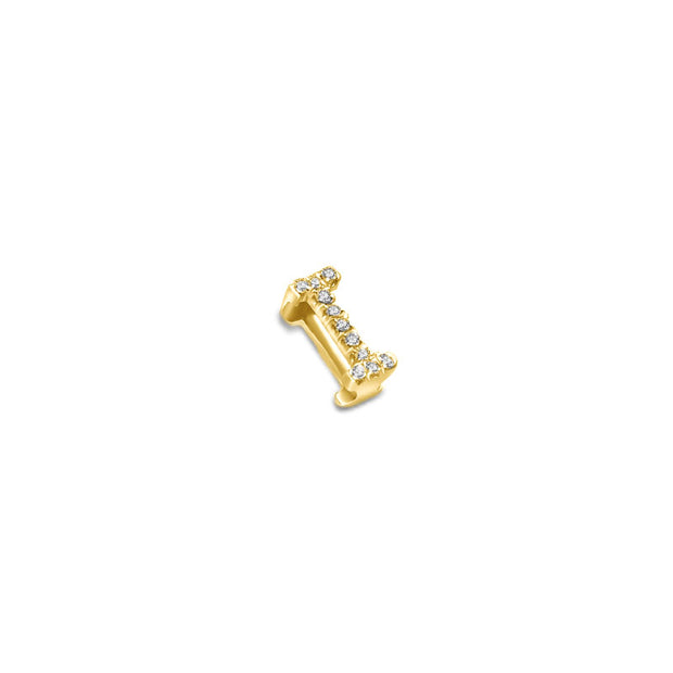 "18k Gold Initial Letter ""I"" Diamond Pendant - Genevieve Collection"