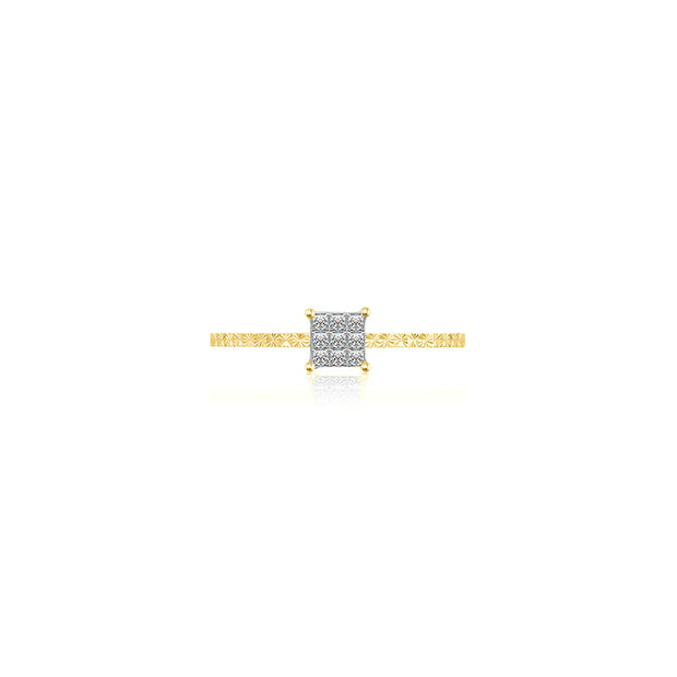 18k Gold Square Shape Diamond Ring