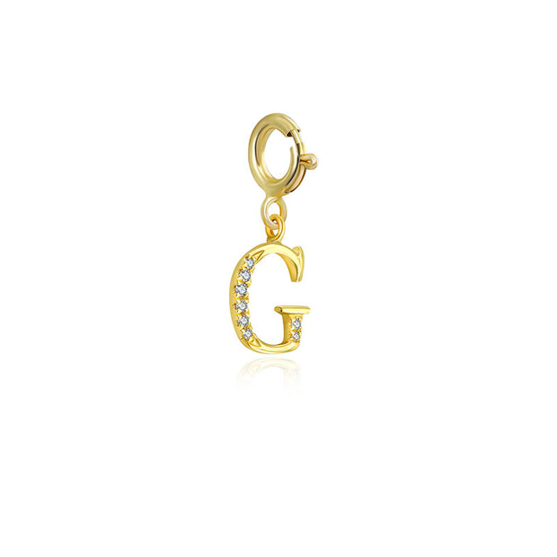 "18k Gold Letter ""G"" Diamond Charms - Genevieve Collection"