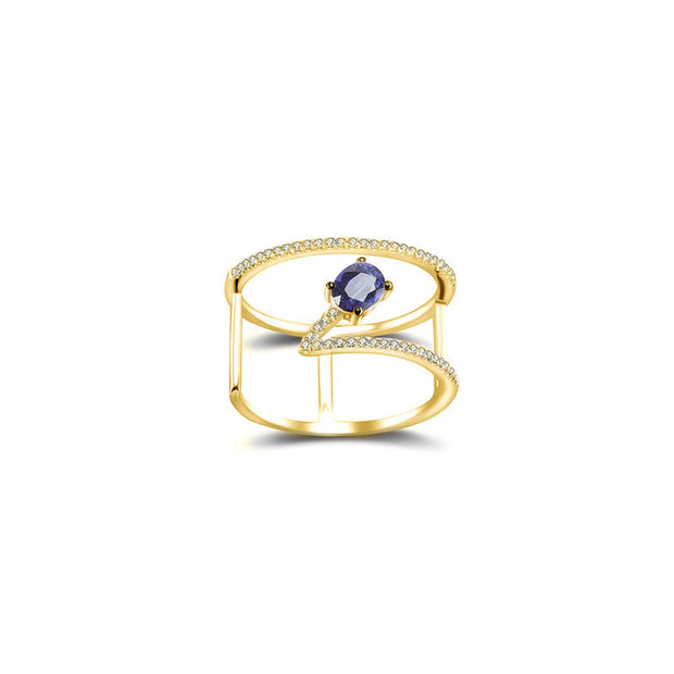 18k Gold Diamond Double Ring with Sapphire