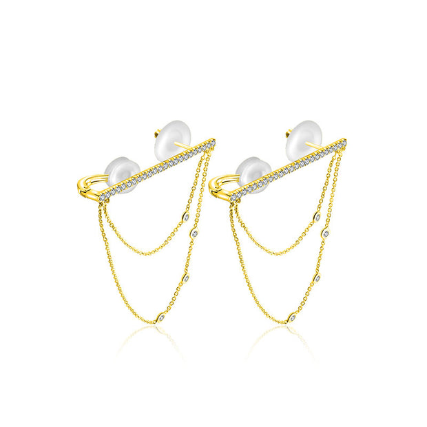 18k Gold Line Diamond Ear Cuff with Chain - Genevieve Collection