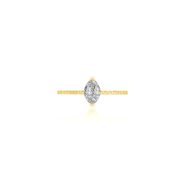 18k Gold Marquise Shape Diamond Ring