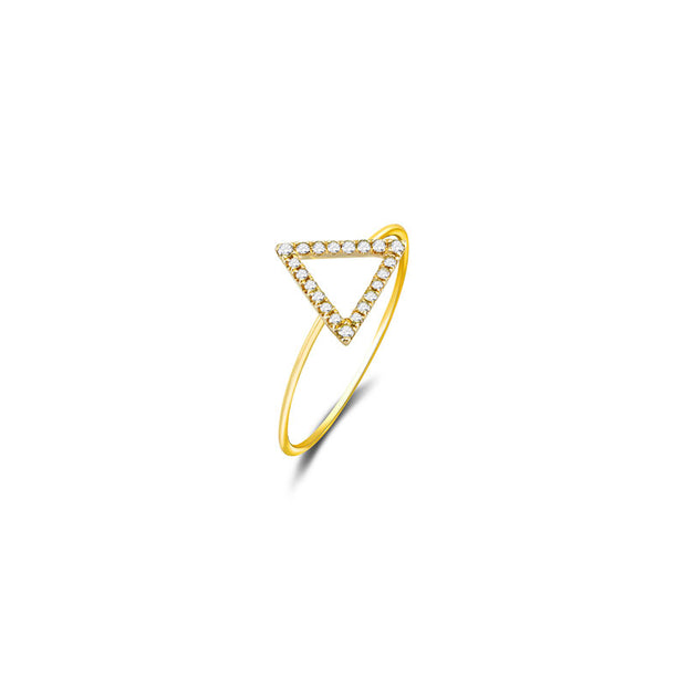 18k Gold Hollow Triangle Pave Diamond Ring