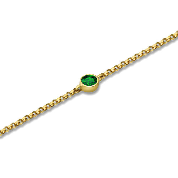 18k Gold May Birthstone Emerald Bracelet - Genevieve Collection