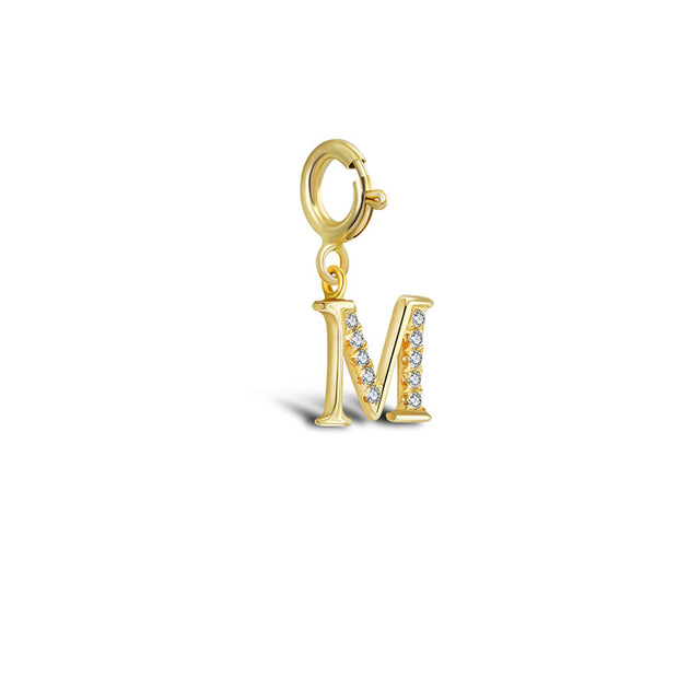 "18k Gold Letter ""M"" Diamond Charms - Genevieve Collection"