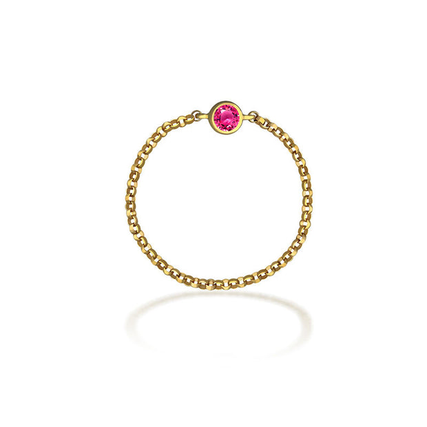 18k Gold October Birth Stone Tourmaline Chain Ring - Genevieve Collection